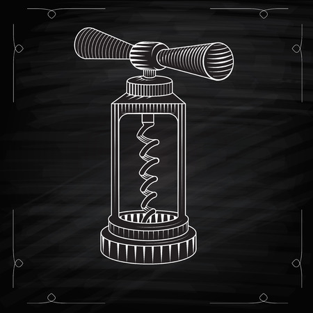cork screw: Corkscrew icon. Vector hand drawn sketch of corkscrew. Classic corkscrew. Corkscrew an engraving style. Drawing with chalk. Corkscrew on a chalkboard.