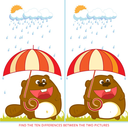 find ten differences between the two pictures. Cartoon beaver character. Colorful rebus for kid on isolated background.  Illustration