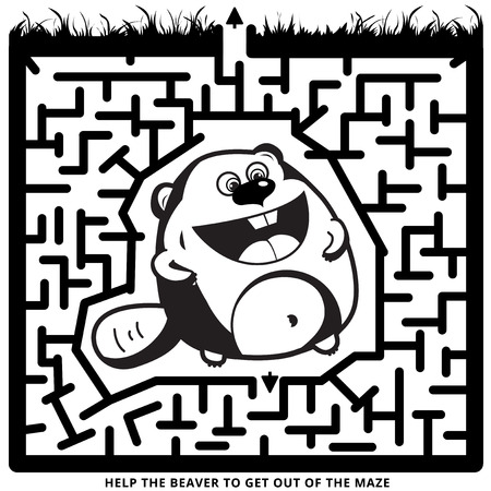 iq: Funny labyrinth. Help the beaver to get out of the maze. Illustration with tangled lines.  Rebus in black color on Isolated background. Beaver cartoon character.