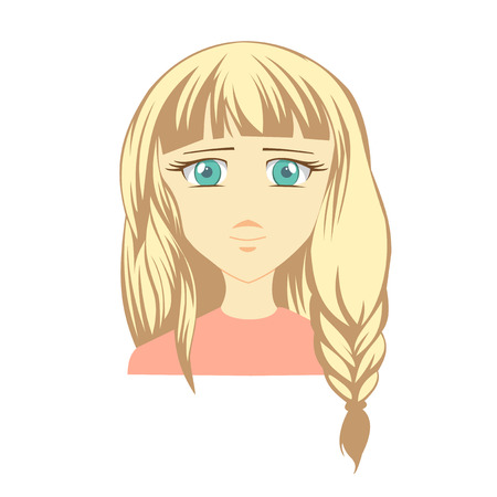 Girl face. Woman face. Icon girl face. Anime character. Cartoon cute face. Face icon on isolated background.