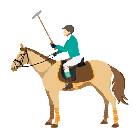 Horse polo player. Badges and design elements. Sport polo player with mallet. Polo stick Illustration
