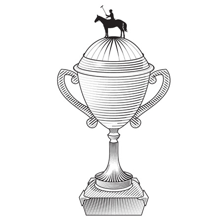 polo player: Metallic trophy cup with horse polo player. Champions cup Icon. Sport polo player with mallet. Graphic style. Icon of polo club sport. Engraving style.