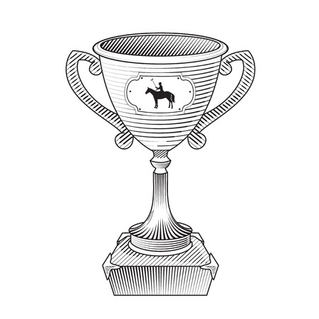 polo player: Metallic trophy cup with horse polo player. Champions cup Icon. Sport polo player with mallet. Graphic style. Icon of polo club sport.