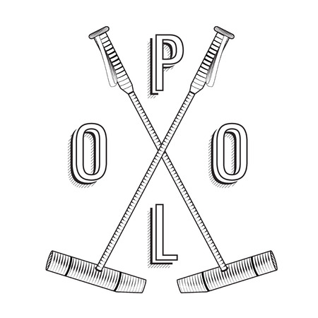 Polo logo. Vintage polo labels. Badges and design elements. Polo lettering. Polo stick. Premium engraving illustration of horse sport. Emblem for rewarding.