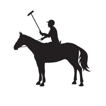 polo player: Silhouette polo player. Horse polo player. Badges and design elements. Sport polo player with mallet. Horse polo player on isolated background. Horse.