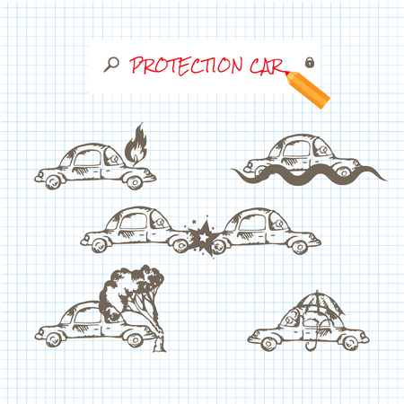car side view: Car insurance icons set. Protection car illustration in doodle style. All object on a separate layers. Cartoon cars. Different situations of car crash. Car insurance. Illustration