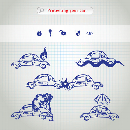 car crash: Car insurance icons set. Protection car illustration in doodle style. All object on a separate layers. Cartoon cars. Different situations of car crash