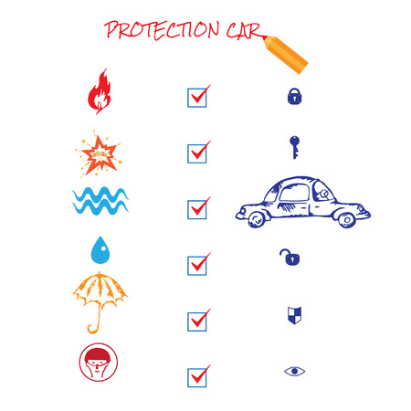 water damage: Car insurance icons set. Protection car illustration in doodle style. Cartoon cars. Different situations of car crash. On white background. Car insurance. Eps 8