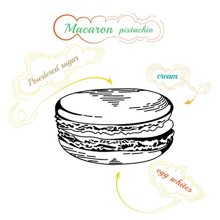 macaron: French macaron cookies isolated on white. Hand drawn illustration of vector french Macaron. Vintage food icon. Design element for decorated cafe.  Illustration