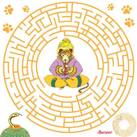 iq: Funny labyrinth. Help the leopard find the snake. Themed maze game. Vector cartoon leopard illustration. Isolated on white background. Answer included.