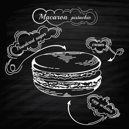 macaron: Franz�sisch Makronepl�tzchen isoliert auf wei�. Vector vintage food icon. Macaron einer Gravur-Stil. Macaron auf Tafel. Design-Element f�r dekoriert Caf�