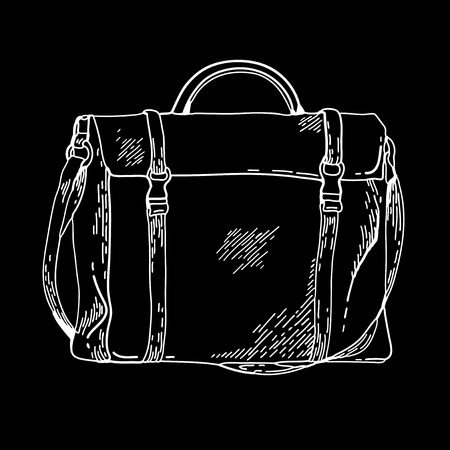 satchel: Handbags. Briefcase. Fashion accessory. School satchel. Vector sketch of  bag. Suitcase on chalkboard. Handbags on doodle style.