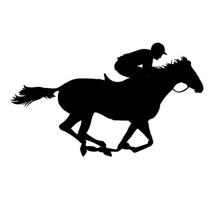 ippica: Corsa di cavalli. Derby. Sport equestri. Silhouette di cavallo da corsa con fantino su sfondo isolato. Cavallo e cavaliere. Cavallo da corsa e fantino silhouette.