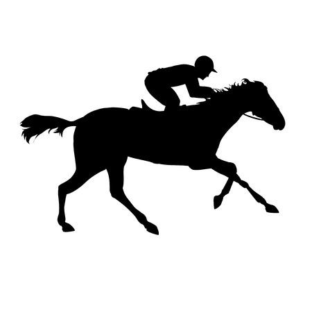 corse di cavalli: Corsa di cavalli. Sport equestri. Silhouette di cavallo da corsa con fantino su sfondo isolato. Cavallo e cavaliere. Cavallo da corsa e fantino silhouette. Derby