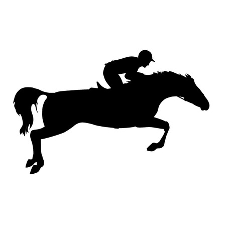 Horse race. Horse and rider. Derby. Equestrian sport. Silhouette of racing horse with jockey on isolated background. Racing horse and jockey silhouette.