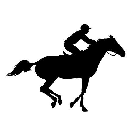 corse di cavalli: Corsa di cavalli. Silhouette di cavallo da corsa con fantino su sfondo isolato. Cavallo e cavaliere. Cavallo da corsa e fantino silhouette. Derby. Sport equestri. Vettoriali