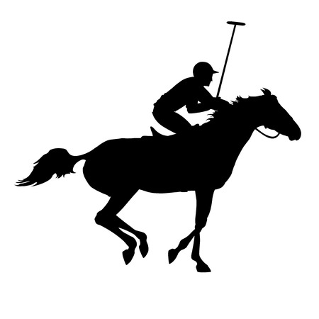 Polo player on isolated background. Horse polo silhouettes. Polo game. Silhouette of a polo player with horse. Illustration