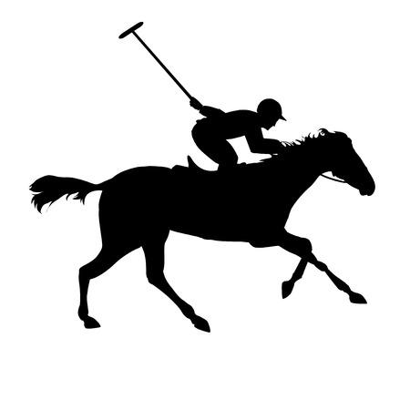 caballo negro: Jugador de polo en el fondo aislado. Siluetas de caballos de polo. Silueta de un jugador de polo con el caballo. Juego de Polo. Vectores