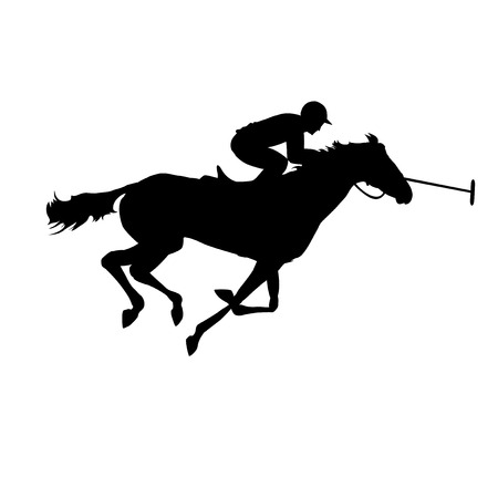 polo: Silhouette of a polo player with horse. Horse polo silhouettes. Polo game. Polo player on isolated background.