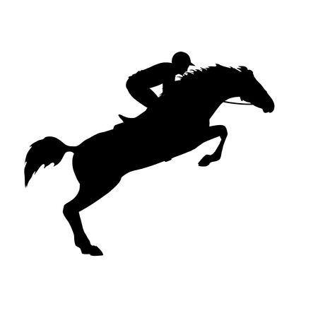 Horse race. Horse and rider. Racing horse and jockey silhouette. Derby. Equestrian sport. Silhouette of racing horse with jockey on isolated background.