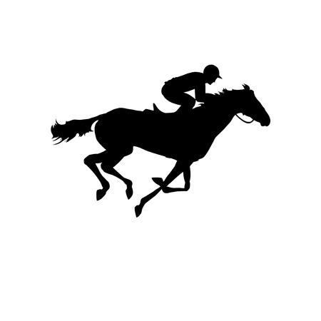 corse di cavalli: Corsa di cavalli. Silhouette di cavallo da corsa con fantino su sfondo isolato. Cavallo da corsa e fantino silhouette. Cavallo e cavaliere. Derby. Sport equestri.