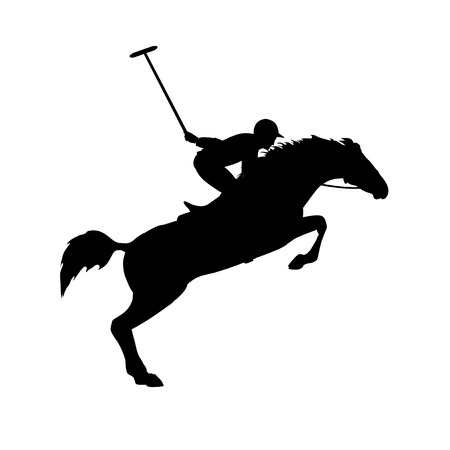 horse harness: Polo game. Polo player on isolated background. Horse polo silhouettes. Silhouette of a polo player with horse. Eps 8