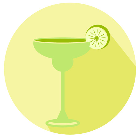 long drink: Alcohol drink and cocktail icon in flat. Cocktail icon with long shadow. Margarita Illustration