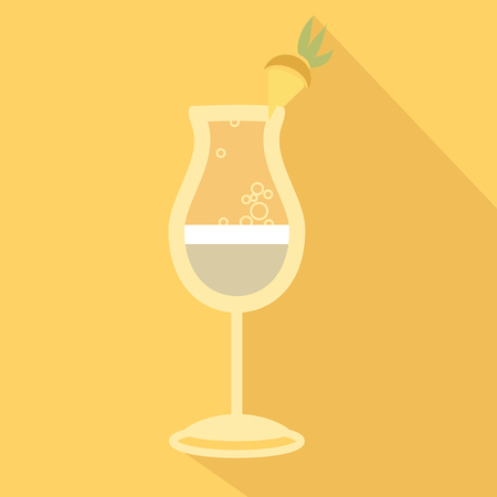 pina colada: Alcohol drink and cocktail icon in flat design style. Cocktail icon with long shadow. Vintage Cocktail. Vector illustration of cocktail. Pina Colada