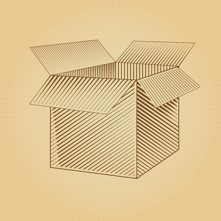 package sending: Box. Vector Web. Vector Blank Box. Box packaging. Empty cardboard box opened. Open box. Engraving box. Graphic packing