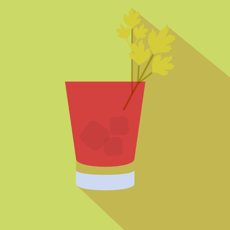 mary: Alcohol drink and cocktail icon in flat design style. Cocktail icon with long shadow. Vintage Cocktail. Vector illustration of cocktail. Bloody Mary