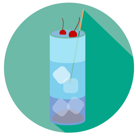 blue lagoon: Alcohol drink and cocktail icon in flat design style. Cocktail icon with long shadow. Vintage Cocktail. Vector illustration of cocktail. BLUE LAGOON