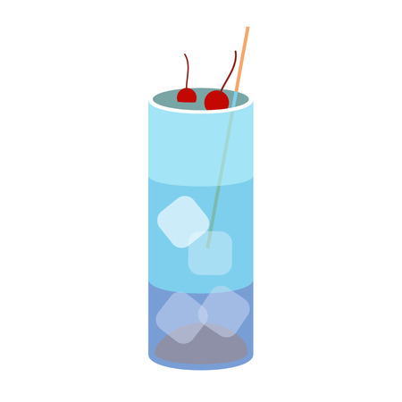 blue lagoon: Alcohol drink and cocktail icon in flat design style. Cocktail icon. Vintage Cocktail. Vector illustration of cocktail. BLUE LAGOON Illustration