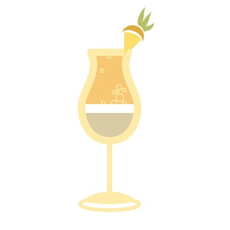pina colada: Alcohol drink and cocktail icon in flat design style. Cocktail icon. Vintage Cocktail. Vector illustration of cocktail. Pina Colada