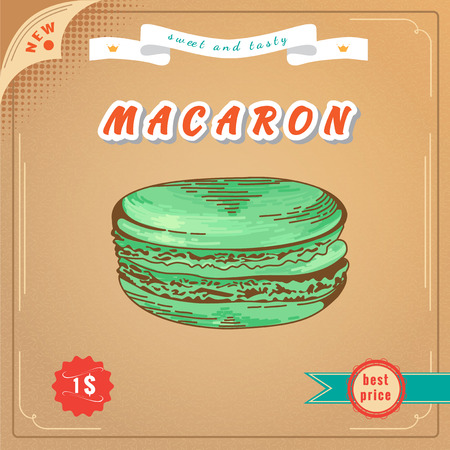 macaron: Macaron illustration. French macaron poster. Design for the decoration of the cafe or menu. Design element for decorated cafe. Banner with Pastry