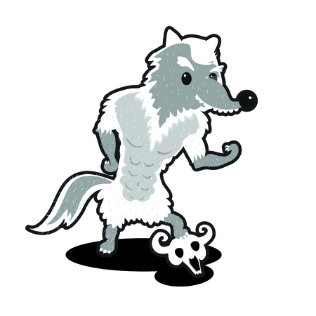 power athlete wolf demonstrate his muscles. Wolf on isolated background. Cartoon wolf. Cute animal. Monochromatic image Vector
