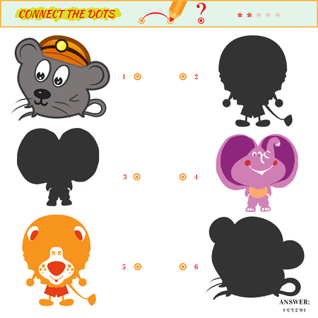 Puzzle or picture riddle. Match the pictures to their shadows. Education matching game for preschool children. Answer included. Cartoon animals leo elephant mouse