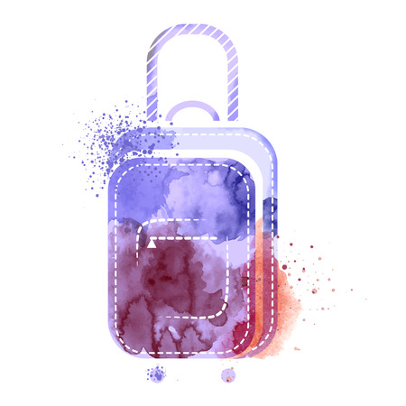 techniques: Suitcase watercolors poster hand drawn with stains. Watercolor techniques travel suitcase on white background. Watercolors of symbols on the topic travel summer Illustration