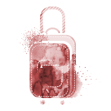 Suitcase watercolors poster hand drawn with stains and smudges. Watercolor travel suitcase on white background. Watercolors of symbols on the topic travel summer Vector