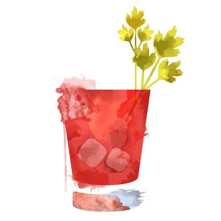 水彩画の技法ベクターのカクテルの写真。カクテルの手描きイラスト。ビンテージ カクテル パーティー招待ポスター。血まみれメアリー カクテル
