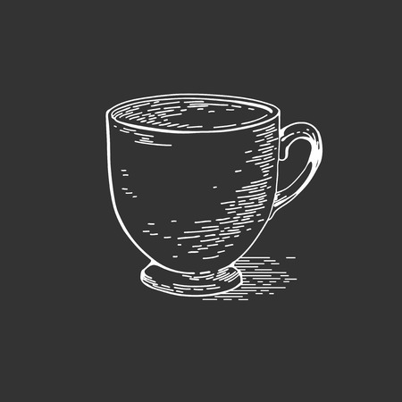 Hand drawn sketch vintage cup of chalk drops streaks landmarks drawing with chalk Cup on blackboard. Menu illustration on black background. Vector