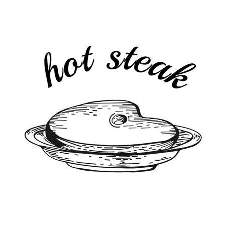 steak plate: Desayuno americano. Cartel Steak House con un filete en forma de letras. Diferentes dibujos de alimentos. Dibujado a mano de �poca boceto del filete en el plato. Almuerzo de negocios Vectores
