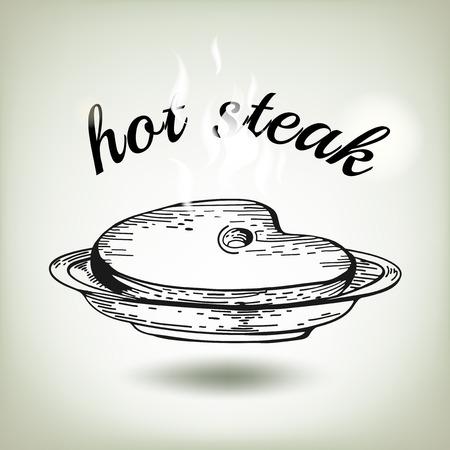 steak plate: Desayuno americano. Cartel Steak House con un filete en forma de dibujos de alimentos lettersDifferent. Dibujado a mano de �poca boceto del filete en el plato. Almuerzo de negocios Vectores