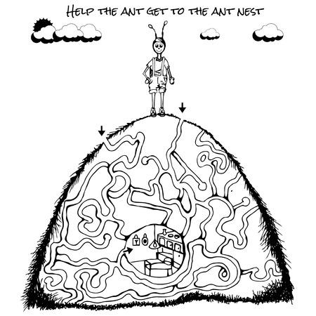 the maze: Divertido juego de laberinto para los ni�os. Laberinto o el laberinto de juegos para ni�os en edad preescolar. Rompecabezas de laberinto con soluci�n