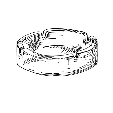 ashtray: hand drawing ashtray nicotine smoke. Doodle style cigarette smoking objects in vector format. Vector sketch ashtray. Hand draw illustration