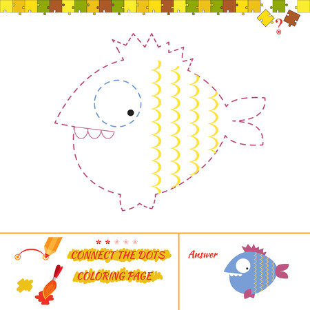 riddle: Connect the dots picture puzzle and coloring page. Puzzle for kids. Answer included.