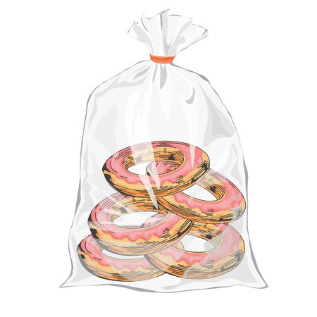 Pictures of donuts. Packaging artwork. Transparent bag for new design bread package. Sketch style Vector