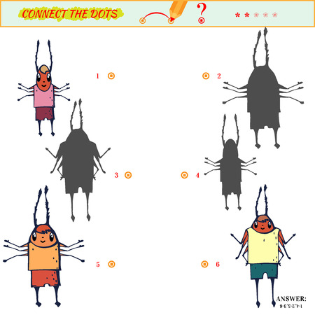 puzzle shadow: Visual puzzle or picture riddle. Shadow Matching Game. Connect the dots picture. Puzzle for kids. Answer included. Illustration