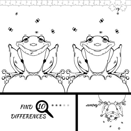 brain mysteries: Find ten differences between the two pictures. Cartoon frog character. Colorful rebus for kid on isolated background. Wolf vector. Puzzle for kids.