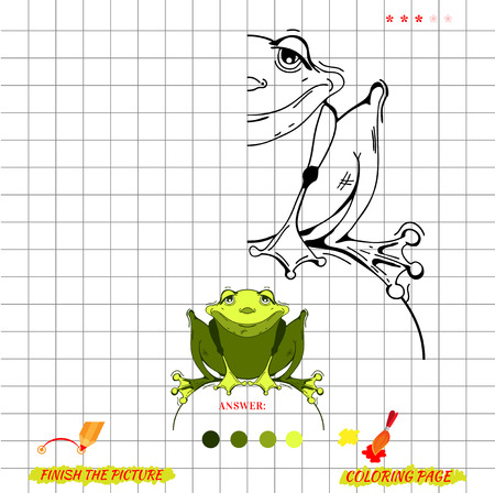 riddle: Game finish the picture and coloring. Visual game for kids. Fold missing puzzle. Symmetry image game. game for preschool child. Education game. Cartoon frog