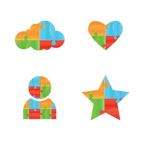 logic: Vector puzzle. Puzzle vector icon design template. Funny Rebus entertainment concept. Colorful logic icon. Construction icon . Differences shape Puzzles